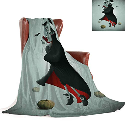 SATVSHOP Throw blanket-70 x50-Hypoallergenic Blanket for Bed Couch Chair Fall Winter Spring.Vampire Creepy Halloween Night Pumpkins and Old Vampire with Cape Flying Bats Black Almond Green.