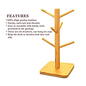 Cuteadoy Mug Rack Tree, Removable Bamboo Mug Stand, Storage Coffee Tea Cup Organizer Hanger Holder with 6 Hooks (Natural Wood)