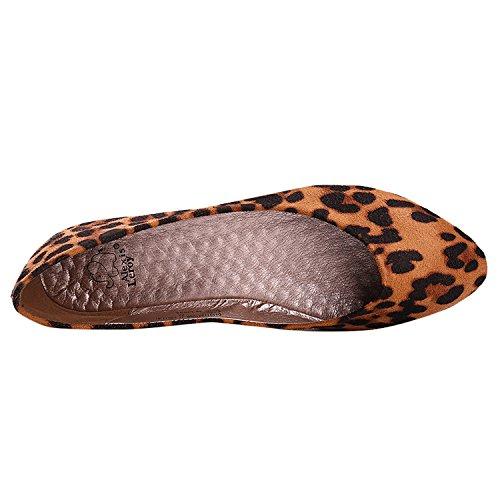 Alexis Leroy - Zapatos con brillo de Ballet planos con diseño sexy de leopardo para mujer albaricoque