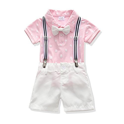 Toddler Boys Clothing Set Gentleman Outfit Bowtie Polo Shirt Bid Shorts Overalls (3T, Pink/White)