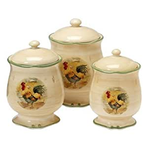 Royal rooster 3 pc canister set food for Kitchen set royal