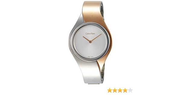 Amazon.com: Calvin Klein Senses Silver Dial Stainless Steel Ladies Watch K5N2M1Z6: Watches