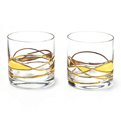 ANTONI BARCELONA Whiskey Bourbon Glasses 12Oz SET 2 Gold Line Hand Painted Mouth Blown Crystal Unique Stunning Gifts Presents for Dad Fathers Mens Retirement Birthdays Scotch Old Fashioned Glass