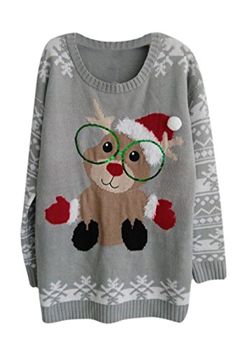 Knit Christmas Sweater - Pink Queen Unisex Ugly Christmas Xmas Pullover Sweater Jumper Squirrel L
