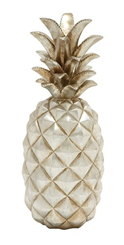 Deco 79 62363 Poly Stone Silver Pineapple Home Decor Product, 7