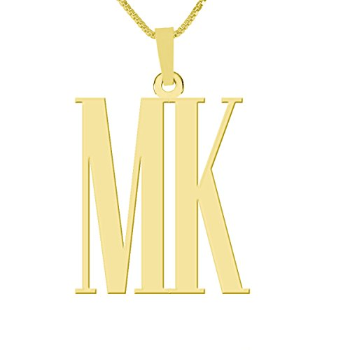 """HACOOL 925 Sterling Silver Double Initials Monogram Necklace Custom Made with Any 2 Initials 18"""" Chain"""
