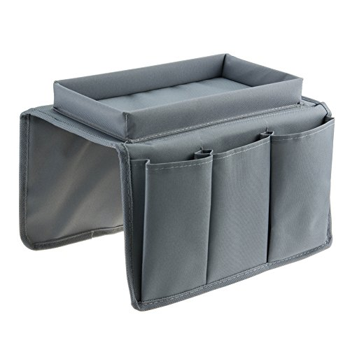 SZTARA Sofa TV Remote Control Handset Holder Organiser Caddy For Arm Rests With Cup Holder Tray - Fits Over Chairs, Sofas Armchairs With Wide Arm Pockets Grey