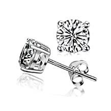 925 Sterling Silver Round Shaped Stud Earrings white cubic zirconia
