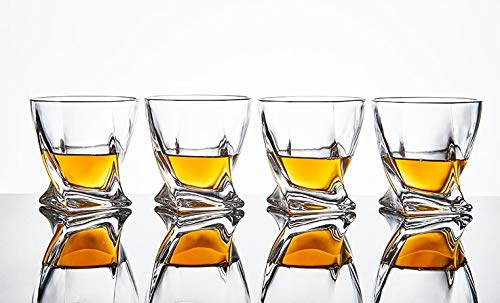 Royalty Gold Twist Whiskey Glasses: 10 oz Crystal Whiskey Glass Tumblers - Bourbon, Scotch, Cognac, Irish Whiskey and Old Fashioned Cocktail Glasses - Set of 4 Rocks Glasses with Luxury Gift Box