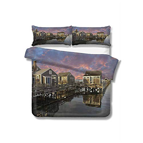 Kresdy Direct United States Pure Bedding Hotel Luxury Bed Linen Sunset Over Nantucket Massachusetts Dramatic Sky Clouds Pond Houses Polyester - Soft and Breathable (Queen) Coral Blue Sepia
