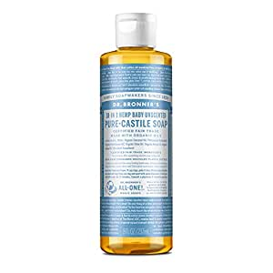 Dr. Bronners - Pure-Castile Liquid Soap (Baby Unscented, 8 Ounce) - Made with Organic Oils, 18-in-1 Uses: Face, Hair, Laundry, Dishes, For Sensitive Skin, Babies, No Added Fragrance, Vegan, Non-GMO