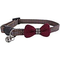 Rosewood Designer Burgundy Bow Dogtooth Cat Collar