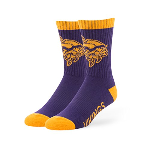NFL Minnesota Vikings Men's '47 Bolt Casual Dress Crew Socks, Purple, Large, (Minnesota Vikings Shorts)