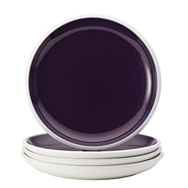 Rachael Ray Dinnerware Rise Collection 4-Piece Stoneware Dinner Plate Set, Purple