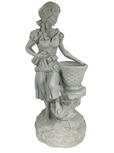 Universal Classic Garden Vintage Peasant Girl with Basket Statue (Handcrafted Home and Outdoor Garden Statue) - 13