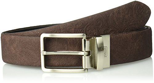 Tallia Men's Suede Embossed Reversible Belt, espresso 42