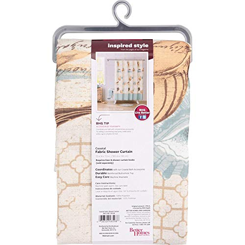 100% polyester Better Homes and Gardens Coastal Collage Fabric Shower Curtain