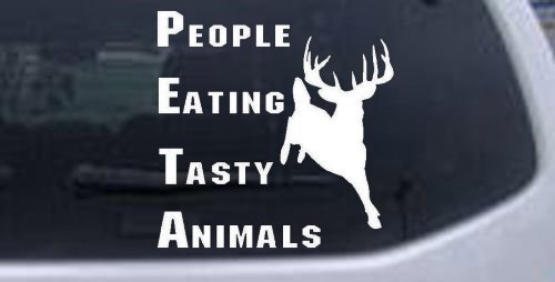 Eating Animals People Tasty (White 6in X 6in -- PETA People Eating Tasty Animals Funny Hunting And Fishing Car Window Wall Laptop Decal Sticker)