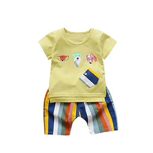 Memela Baby Boys 2Pcs Cotton Jersey Top and Rainbow Trousers (Yellow, 24-36 Months) (Cotton Rainbow Jersey)