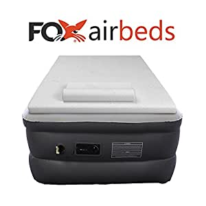Top Rated Fox Air Beds Plush High Rise Inflatable Air Mattress with Premium Gel Memory Foam Mattress Topper and Form Pillows (Twin XL)