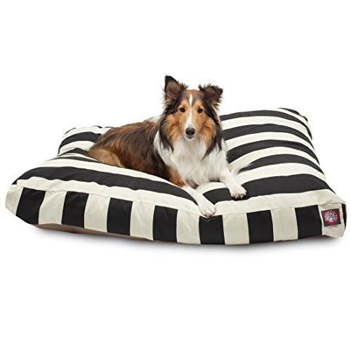 Black Vertical Stripe Large Rectangle Pet Bed (Pet Majestic)