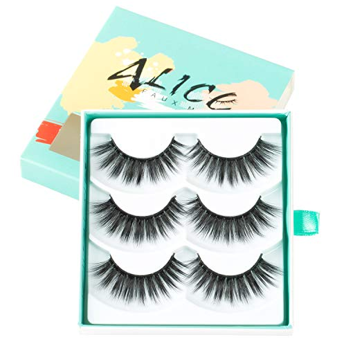 ALICE False Eyelashes 3D Faux Mink Glamour Lashes 3 Pairs