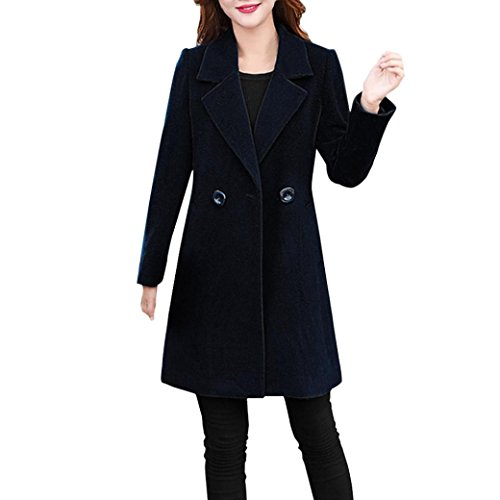 Transer Women Plus Size Long Slim Cashmere Cardigan Parka Single Breasted Coat Jacket (Black, 2XL) (Cashmere Long Jacket)