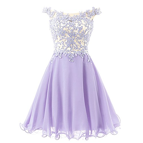 Lace Bodice Dress (FNKS Women's Straps Lace Bodice Short Prom Gown Homecoming Party Dress Lavender US)