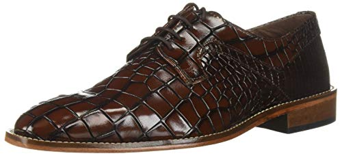 STACY ADAMS Men's Triolo Croc Lizard Print Lace-Up Oxford Cognac Multi, 11 M US