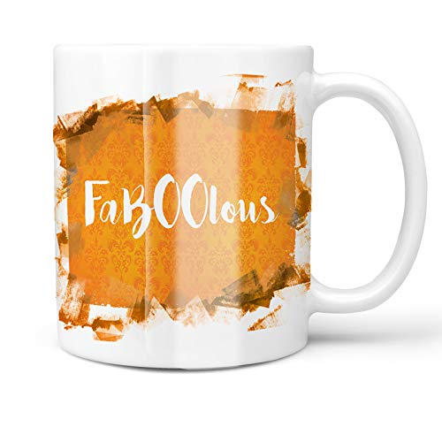 Neonblond 11oz Coffee Mug FaBOOlous Halloween Orange Wallpaper with your Custom Name]()