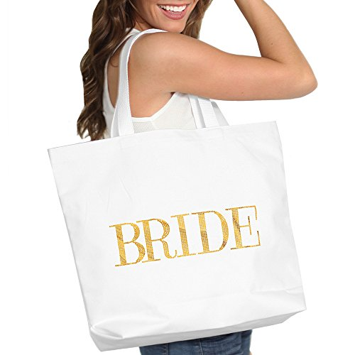 Bride Modern Gold Tote Bag - Bridal Shower Bachelorette Bride Accessory (Things To Buy For A Bachelorette Party)