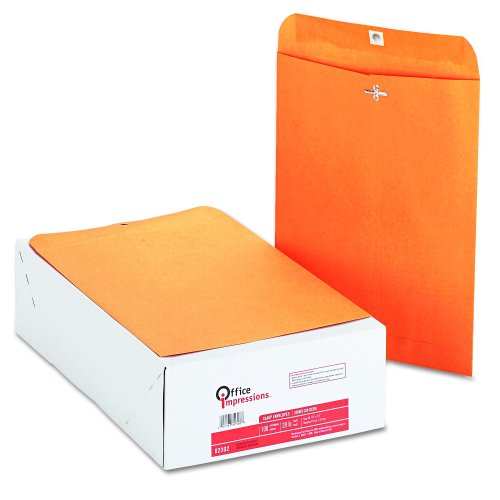 Office Impressions Kraft Clasp Envelopes, 9 X 12 Inches, 28