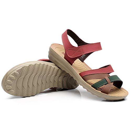 Charberry 2019 Women Ladies Summer Fashion Leather Sandals Wedges Comfort Big Size Shoes Red