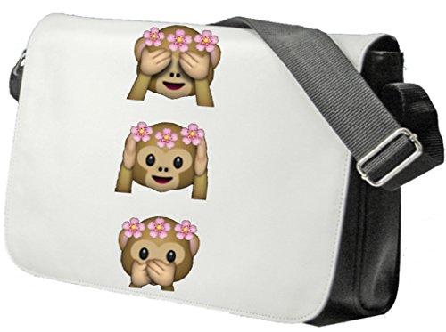 """Schultertasche """"Affen Damen Nichts Böses Sehen Hören Sagen OMG """" Schultasche, Sidebag, Handtasche, Sporttasche, Fitness, Rucksack, Emoji, Smiley"""