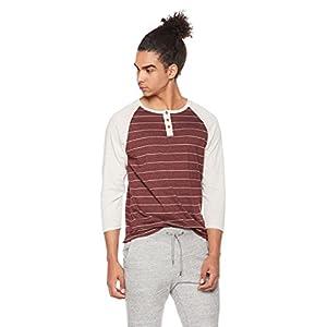 Rebel Canyon Men's Young 3/4 Sleeve Baseball Raglan Cotton Henley T-Shirt Medium Dark Burgundy