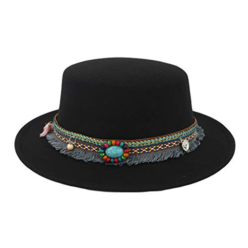 SANOMY Unisex Wide Flat Brim Fedoras Felt Jazz Trilby Hats Formal Party Bowler Hat