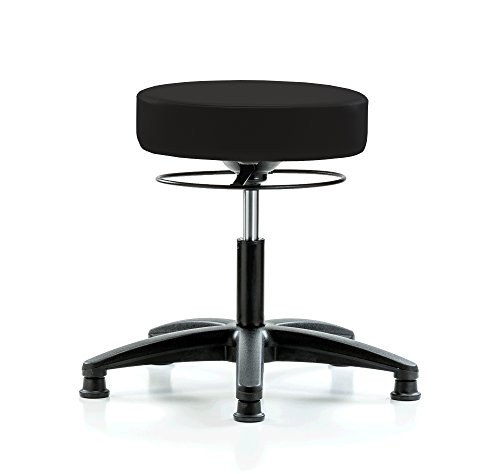 PERCH Stella Stationary Height Adjustable Salon & Spa Stool | Desk Height 18.5-24 Inches | 300-Pound Weight Capacity | 12 Year Warranty (Black Vinyl) -