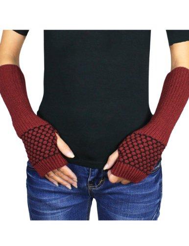 Dahlia Women's Honeycomb Pattern Acrylic Fingerless Arm Warmer Gloves - Red by Dahlia (Image #6)