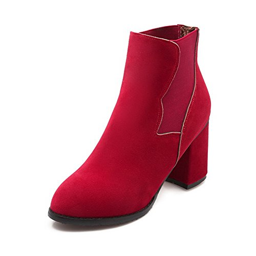 Allhqfashion Heels Dull Solid Toe Polish High Low Closed top Red Women's Round Boots vrwqR1xWvZ