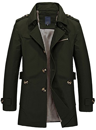 Breasted Men's Slim Lightweight Fit army Trench Collar Coat Chouyatou 1306 Lapel Single dtYqxn7YTw