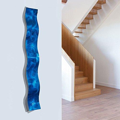 Blue 3D Abstract Metal Wall Art Sculpture Wave   Modern Home Décor By Jon  Allen   46.5 Part 65