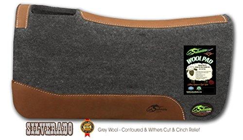 Southwestern Equine Silverado 1″ Grey Contoured Saddle Pad 100% Wool