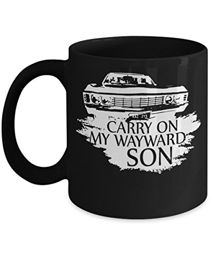Carry On My Wayward Son (B) - By: Trinkets & Novelty - 11-oz Novelty Supernatural Merchandise Coffee Tea Cocoa Mug Cup - Perfect Gift For Any Fan of Sam and Dean