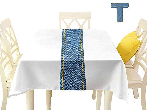 W Machine Sky Oil-Proof and Leak-Proof Tablecloth Letter T Alphabet Design with Denim Texture Element Blue Jeans Stitches Illustration Print W36 xL36 Suitable for Buffet Table, Parties, Wedding