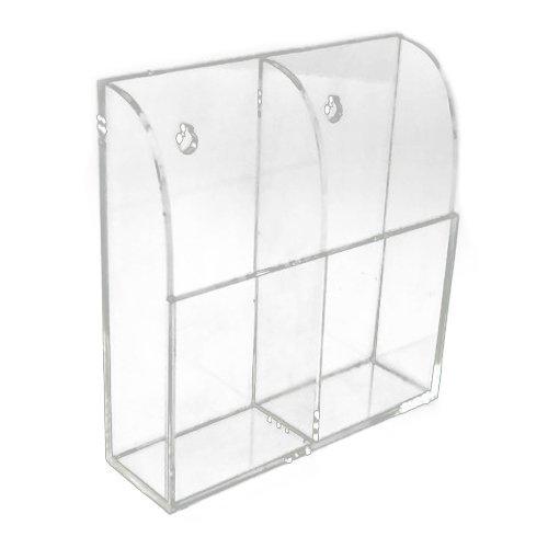 Caja de soporte caja de almacenamiento de acr/ílico con montaje de pared para mandos a distancia de TV y aire acondicionado caja doble