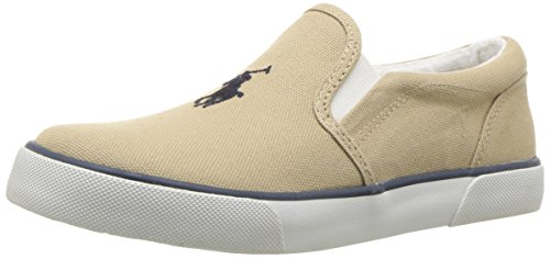 (Polo Ralph Lauren Kids Boys' BAL Harbour II Sneaker, Khaki, 12.5 Medium US Little Kid)