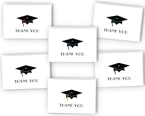 Graduation Cap Thank You Cards - 24 Cards & (Graduation Thank You Notes)