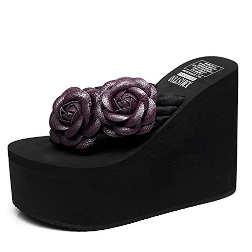 Alto cn36 1 Verano Eu36 8 Sandals Tamaño Del Zapatillas Talón Chanclas Con Elegante Colores Duo 7 color Femeninas Manera De La 12cm uk4 CYpnw