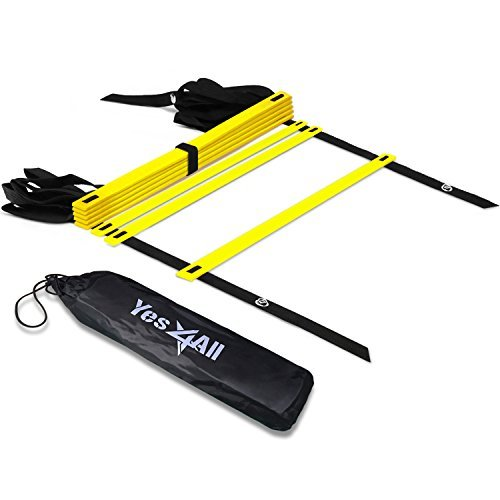 Yes4All Agility Ladder - Speed Agility Training Ladder with Carry Bag - 8 Rung (Yellow) - - Team Bags 8