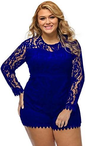 51aa2b205608 roswear Women s Plus Size Round Neck Long Sleeve Lace Romper Jumpsuit